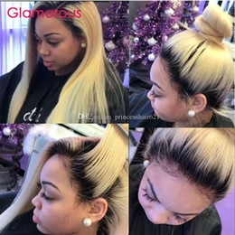 Glamorous Brazilian Human Hair Full Lace Wig 12 14 16 18 20 22 24Inches Ombre Blonde Grey Burgundy #27 Brown Colored Hair Wigs