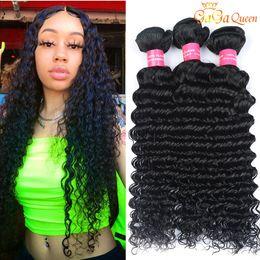 4 Bundles Deal Peruvian Deep Wave Hair Bundles Peruvian Virgin Human Hair Peruvian Deep Wave Curly Hair Wefts No Tangle