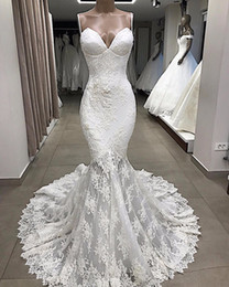 Vintage Spaghetti Lace Appliqued Mermaid Wedding Dress Cheap Luxury Backless Full Lace Bohemian Beach Bridal Gown