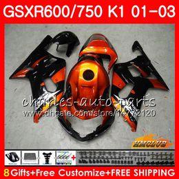 8Gifts Body Orange black hot For SUZUKI GSX-R750 GSXR 600 750 GSXR600 01 02 03 4HC.9 GSXR-600 K1 GSX R750 GSXR750 2001 2002 2003 Fairing kit