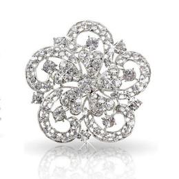 2 Inch Vintage Look Rhodium Silver Tone Clear Rhinestone Crystal Diamante Wedding Invitation Brooch Party Prom Gifts