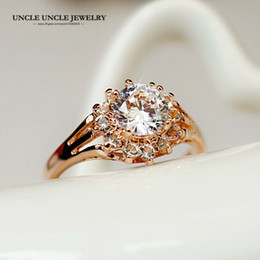 Woman Engagement Finger Ring Rose Gold Color Clear Zircon Prong Setting Luxury Wedding Rings Wholesale Drop Ship Gifts