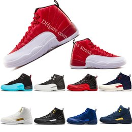 Cheap mens basketball shoe 12s gym red black black Nylon flu game Dark grey Royal Blue whtite black the master trainers Sports shoes