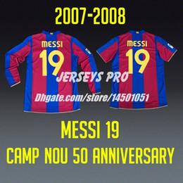 Messi 19 Camp Nou 50 anniversary home retro Soccer Jerseys Football Shirts 2007 2008 Ronaldinho Xavi Iniesta Puyol Eto'o Rafael Marquez