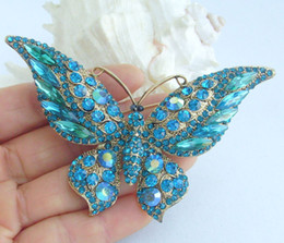 Gorgeous Butterfly Brooch Pin w Turquoise Rhinestone Crystals EE04538C5