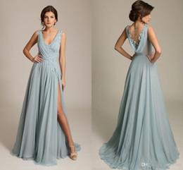 2020 Gorgoues Bridesmaid Dresses V Neck Sleeveless Appliques Chiffon High Split Sexy Formal Wedding Party Gowns Maxi Dress