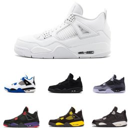 2019 All White Best men basketball shoes 4 Military Motosports blue Alternate 89 Pure Money new basketball trainers 4s Sports sneakers 8-12