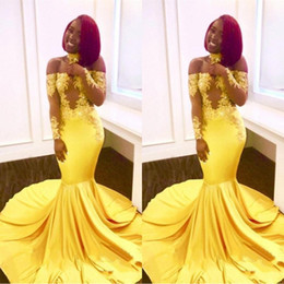 2019 New Yellow African Mermaid Prom Dresses Lace Off Shoulder Long Sleeves See Through Sweep Train Formal Evening Party Wear Gowns