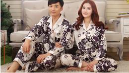 Wholesale-Women Men Winter Rayon Silk Fleece Sleepwear Pajama Set Couples Robes Nightwear