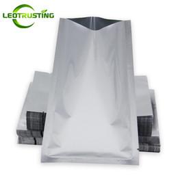 Leotrusting 200pcs lot Aluminum Foil Vacuum Packaging Bag Open Top Foil Packaging Pouch Heat Sealing Silver Foil Powder Meat Storage Bags