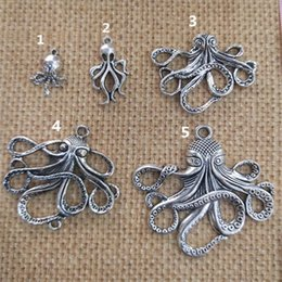 Fashion Antique silver Deluxe Octopus Charm Collection Necklace pendant 18mmx33mm for Bracelets Earring DIY Charm 40pieces lot