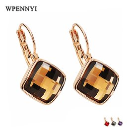 Colourful Rose Gold Color Simple Square Sections Gray Champagne Purple Red Zirconia Woman Drop Earring Wholesale