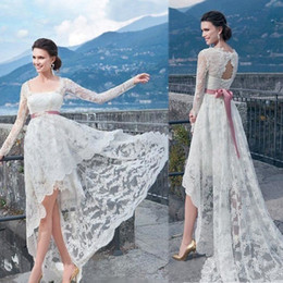 2019 White Country Wedding Dresses Long Sleeves Backless Vintage Lace Hi-Lo Tulle Formal Party Dress Bridal Gowns