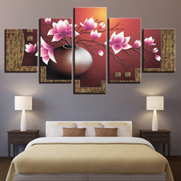 Modern Canvas HD Prints Pictures For Living Room Wall Art Framework 5 Pieces Magnolia Flowers Vase Paintings Home Decor Posters