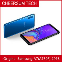 wholesale Original Samsung Galaxy A7 2018 A750F dual SIM 6.0 inch Octa Core 4GB RAN 64GB ROM 24MP 4G LTE Android 8.0 Smart Phone free DHL