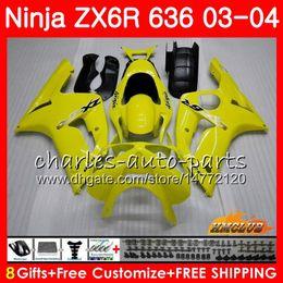 Body For KAWASAKI NINJA glossy yellow ZX600 ZX636 ZX-6R 03 04 ZX-636 36HC.17 ZX 636 6 R 600CC ZX6R 03 04 ZX 600 ZX 6R 2003 2004 Fairing kit