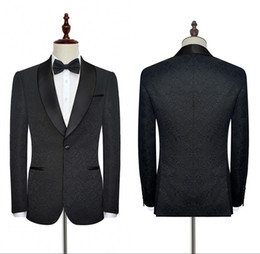 Black Wedding Tuxedos Suits Formal For Weddings Business Work Mens Suits High Quality Made Customized Blazer Suits With Embroidery SU0021