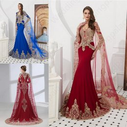 Luxurious Evening Dresses Long Sleeve With Shawl Small Turtleneck Gold Lace Tail Evening Gown Special Occasion Dresses