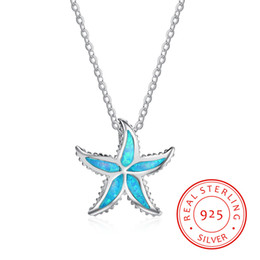 high quality 925 sterling silver Europe Style silver star necklace setting with blue synthetic opal Chinese hot