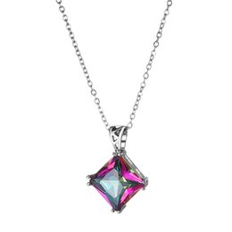 Luckyshine New Women Square Natural Mystic Topaz Rainbow Pendants Gems Silver rendy Party Holiday Jewelry Gift 10 Pcs Lot