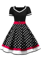 2019 Polka Dots Vintage Women Rockabilly Dresses With Belt Swing Retro Summer Women Work Dress Casual Party Gowns Short Sleeves FS3876