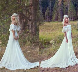 Vintage 1970s Bohemian Wedding Dresses Country Off The Shoulder Neckline A-line Court Train Ivory Lace Chiffon Hippie Boho Bridal Gowns