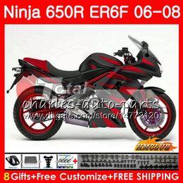 Body For KAWASAKI NINJA 650R ER6 F ER-6F 2006 2007 2008 Cowling 29HC.24 Ninja650R 650 R ER6F 06 08 ER 6F 06 07 08 Fairing Kit glossy red blk