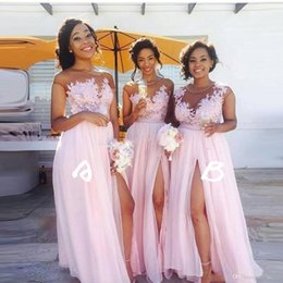 Baby Pink Sheer Jewel Neck Cheap Bridesmaid Dresses 2019 Vintage Lace Top A-Line with High-thigh Split Long Maid of Honor Gowns BM0146
