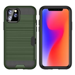 Armor Credit Card Slot Slide Defender TPU+PC Dual Layer Rubber Shockproof Hard Back Cover Case For iPhone 11 Pro Max XS XR X 8 7 6 6S Plus