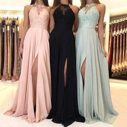 2020 Elegant Halter Neck Chiffon Long Bridesmaid Dresses Lace Applique Front Split Wedding Guest Dress Maid Of Honor Dresses BM0267