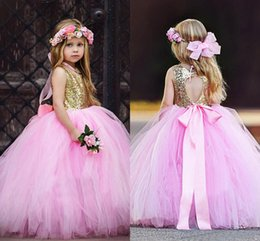 2020 Pink Gold Sequined Flower Girls Dresses Floor Length Girls Birthday Daily A Line Pageant Dress 1st Communion Party Wear