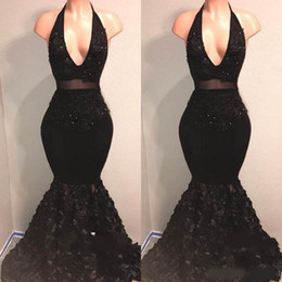 Two Pieces Black Halter Deep V-Neck Prom Dresses 2019 Sleeveless Mermaid Ruffles Backless Formal Party Evening Dresses Gowns