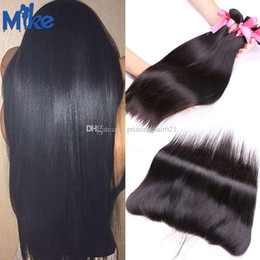 MikeHAIR Ear to Ear Lace Frontal With 3 Bundles Human Hair Wholesale 4Pcs lot Brazilian Malaysian Indian Peruvian Straight Hair with Frontal