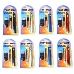 Twist Mode E Cigarette Preheat Kit 650mAh Twist VV Battery with 0.5ml 1.0ml Cartridge USB Charger Vaporizer Kits dhl