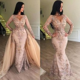 2019 New V Neck Lace Mermaid Prom Dresses Long Sleeves Tulle Applique Floor Length Formal Party Evening Gowns With Detachable Skirt BC0179