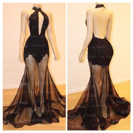 2019 Keyhole Lace and Tulle Prom Dresses High Neck Mermaid With Sheer Illusion Sleeveless See Through Evening Gowns Real Images