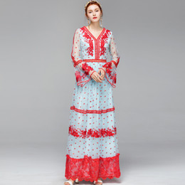 Women's Runway Designer Dresses Sexy V Neck Long Flare Sleeves Embroidery Tiered Ruffles Elegant Party Maxi Dresses
