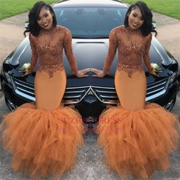 Cheap Dust Orange African Long Sleeves Mermaid Prom Dresses 2019 Beads Appliques Sequins Long Ruched Ruffle Evening Gown BA8084