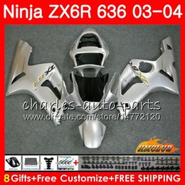 Body For KAWASAKI NINJA glossy silvery ZX600 ZX636 ZX-6R 03 04 ZX-636 36HC.20 ZX 636 6 R 600CC ZX6R 03 04 ZX 600 ZX 6R 2003 2004 Fairing kit