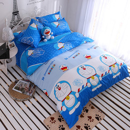 red print sheets Promo Codes - Blue Doraemon Duvet Cover Bed Sheet 3 or 4 Pcs Bedding Sets Pillowcases Bed Linen Set Home Textile