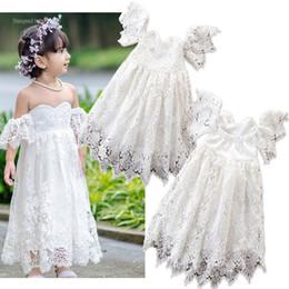Retail Baby girl dresses one-shoulder hollow lace flower girl wedding dresses Kids designer clothes girls ruffle floral princess prom Dress