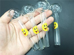 Hot Sale Smile Logo Glass Oil Burner Pipes Pyrex Oil tube hand Spoon Pipes Hand Pipe Tobacco oil tube Pipes For Smoking Accessories