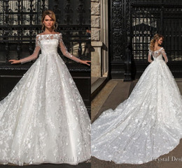 Bateau Neck Long Sleeves Lace A Line White Brides Wedding Dresses 2019 Elegant Tulle Applique Sweep Train Bridal Gowns With Buttons BC2256