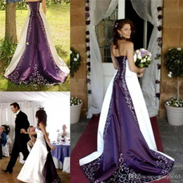 White and Purple Embroidery Satin Wedding Dresses 2019 Elegant Custom made A-Line Strapless Lace up Back Court Train Court Bridal Gowns