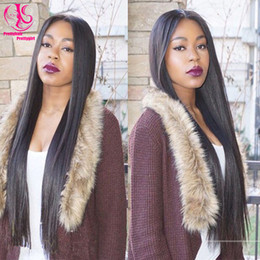 High Quality heat resistant Glueless long silky straight synthetic lace front wig black wigs with middle part