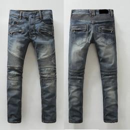 2019 Mens Jeans Zippers Vintage Washed Folded Stitching Elastic Biker Motorcycle Jeans men Locomotive Jeans Denim Long Pants Holes Trousers