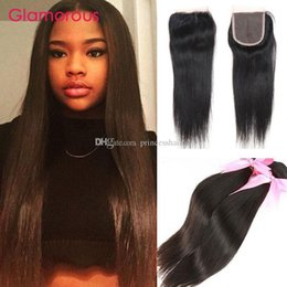 Glamorous 4x4 Lace Closures With 2 Bundles Brazilian Peruvian Indian Malaysian Straight Virgin Human Hair Weaves with Hair Closures 3Pcs Lot