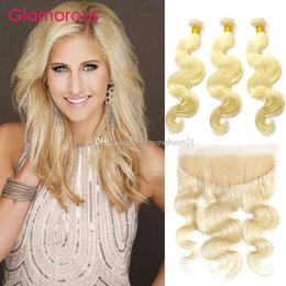 Glamorous Peruvian Indian Human Hair Brazilian Blonde Hair Bundle with Frontal 13x4 Ear to Ear Lace Frontal Closure with Hair Weave 4Pcs Lot