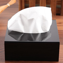 Gift Black Top Grade Square Acrylic Tissue Box Creative Pumping paper Waterproof Simple European Home Decoration