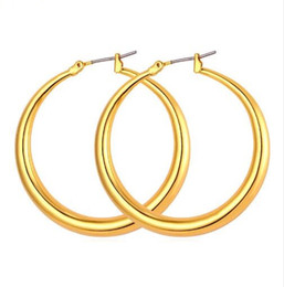 Trendy Big Size Style Large Hoop Earrings For Women Fashion 18K Real Gold Plated Basketball Wives Big Size Earrings E424
